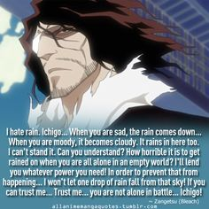 Bleach Zangetsu, must be a sad existence when it rains
