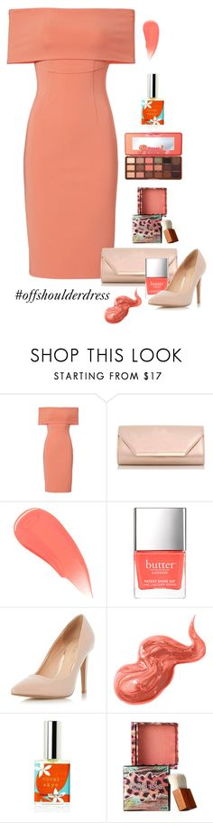 """""""Coral Dress"""" by patricia-dimmick ❤ liked on Polyvore featuring Yigal AzrouÃ«l, Dorothy Perkins, Burberry, Bobbi Brown Cosmetics, Benefit, Too Faced Cosmetics, coral and offshoulderdress"""