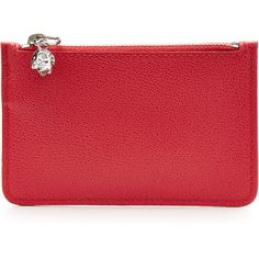 Alexander McQueen Zipped Leather Key Pouch (£145) ❤ liked on Polyvore featuring bags, wallets, red, zip top tote bag, leather key pouch, leather zip wallet, red leather wallet and tote handbags