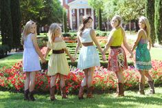 Cute Country girl friends!  I love cowboy boots and sundresses