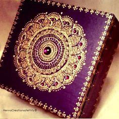 Wild Plum Purple Mandala Keepsake Jewelry Box with Gem Stones by HennaCreationsofeNVy on Etsy