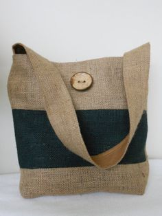 Hobo Slouch Shoulder Bag in Natural Burlap  with by Joanna1966,