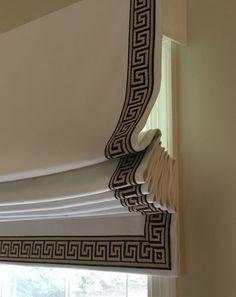 Ivory twill roman shades with greek key trim …