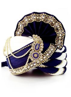 Ready to wear Blue & White traditional Indian Wedding Safa B15027