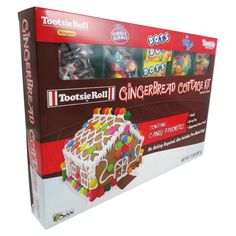 Christmas Gingerbread Cottage Kit with Tootsie Rolls, Dubble Bubble, Dots and Fruit Chews - 32oz,