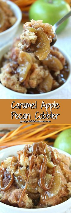 Caramel Apple Pecan Cobbler is an incredibly juicy cobbler, loaded with tart, tender apples, chopped pecans, caramel filling and then topped with a caramel drizzle. Pecan Cobbler, Cobbler Topping, Fruit Cobbler, Fruit Pie, Desserts To Make, Homemade Desserts, Holiday Desserts, Apple Desserts, Baking Desserts