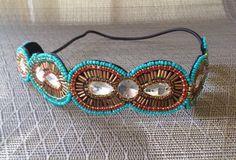Turquoise & Gold Headband // Beaded Headband // Boho Headband // Rhinestone Headband //  Women Hair Accessory by freeyourdream on Etsy https://www.etsy.com/listing/230871011/turquoise-gold-headband-beaded-headband