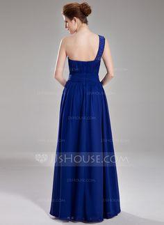 A-Line/Princess One-Shoulder Floor-Length Chiffon Evening Dress With Ruffle Beading (017004376) - JJsHouse