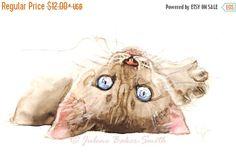 ON SALE Cat Art Siamese Kitten Siamese Art Print by ArtByJulene