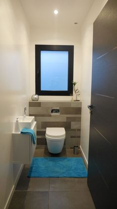 WC du bas - éclairage led Plus - Small Toilet Design, Small Toilet Room, Wc Bathroom, Small Bathroom, Guest Bathrooms, Bathroom Ideas, Wc Design, Screen Design, Toilette Design