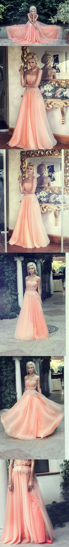 1a431287625e Hot Sales A-line Strapless Lace Appliqued Bodice Blush Pink Tulle Skirt  Long Prom Dresses Evening Gowns