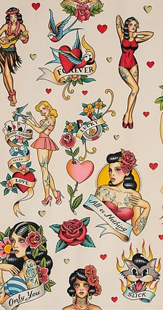 Don't Gamble With Love Tea Dye Nicole's Prints By Alexander Henry Fabrics, Pinup, Tattoos Pin Up Girl Tattoo, Pin Up Tattoos, Leg Tattoos, Girl Tattoos, Tattoos For Guys, Tatoos, Sleeve Tattoos, Traditional Tattoo Pin Up Girl, Traditional Tattoo Design