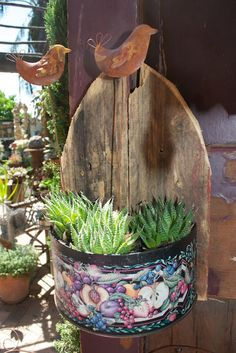 cookie tin ..old wood..wall planter