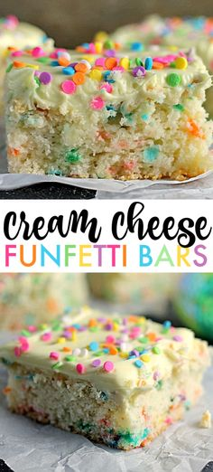 Cheese Funfetti Bars Cream Cheese Funfetti Bars are simple, semi-homemade treats that are perfect to kick off spring baking. Start with a box funfetti cake mix and add cream cheese to make these fun and delicious bars! Cake Mix Desserts, Cake Mix Recipes, Easy Desserts, Delicious Desserts, Dessert Recipes, Easy Homemade Cake Recipes, Easter Recipes, Cream Cheese Bars, Cream Cheese Desserts