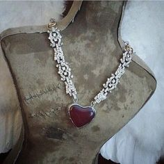 Vintage assemblage necklace with repurposed glass heart ooak by Alpha Female Studio