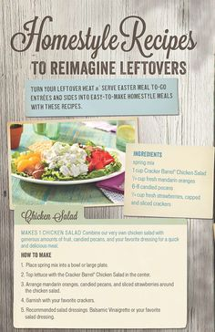 Homestyle recipes to reimagine leftovers.  Chicken Salad.
