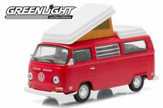 Brand new scale car model of 1968 Volkswagen Type 2 Camper Van Red with White Hobby Esclusive die cast model car by Greenlight.Has Rubber Tires.Comes in a blister pack.Metal Body and Chassis. Volkswagen Type 2, Vw T1, Clamshell Packaging, Matchbox Cars, Rubber Tires, Diecast Model Cars, Vw Camper, Custom Trucks, Campervan