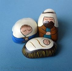 3-Piece Royal-Teal Nativity Set Painted on Rocks