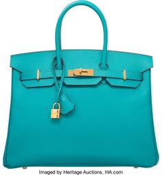 """Hermes 35cm Blue Paon Epsom Leather Birkin Bag with Gold Hardware.P Square, 2012. Excellent Condition. 14"""" Width..."""