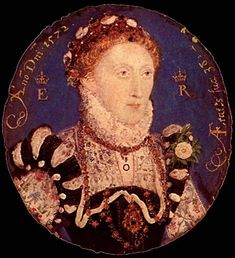1572_Queen Elizabeth I of England aged 38. Portrait Miniature.  Artist: Nicholas Hilliard  National Portrait Gallery, London.