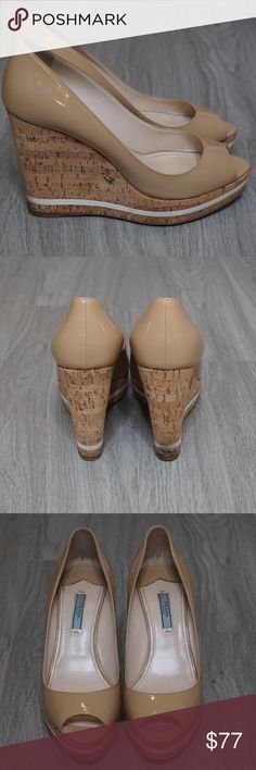 """Prada Camel Wedges Prada Camel Platform Wedge 100% Authentic Condition: Pre-Owned; Good Condition Size: 8.5 Measurements: Heel 4.5"""" Material: Soft Leather, Cork  Notes: Minor staining on back of one shoe:: Small marking on left shoe Retails for $464 Prada Shoes Wedges"""