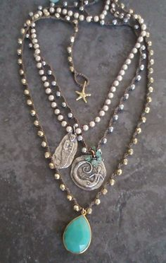 Mermaid pearl crochet necklace  Hidden Heart  dainty by slashKnots, $67.00