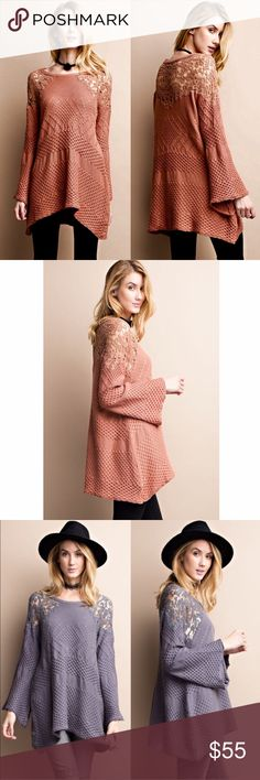 LILIA knit sweater top w/ bell sleeves - PEACH Oh how darling is this bell sleeve knit sweater top. Fun crochet detail on shoulder and back. Also available in SMOKE.   NO TRADE, PRICE FIRM Bellanblue Tops Tees - Long Sleeve