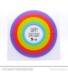 Handmade card from Francine Vuilleme featuring Stitched Rainbow Die-namics #mftstamps