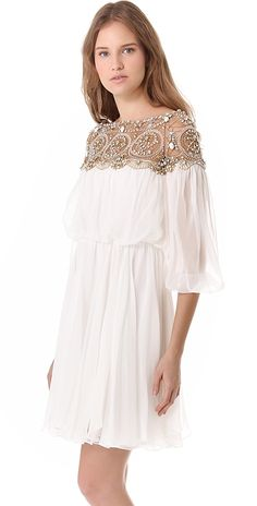 Marchesa Long Sleeve Cocktail Dress | SHOPBOP Use Code: TREAT20 Extra 20% Off Select Sale Styles