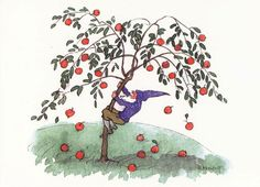 Ernst Kreidolf, Zwerg beim Apfelschütteln - Lammers-Koll-Verlag