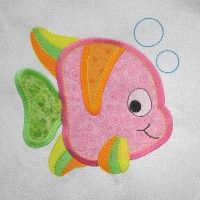 FISH Under The Sea Embroidered and Applique Quilt Block