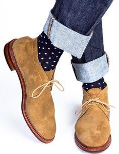 men's over the calf blue dot socks