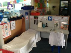 Hospital Role play area. Play based learning.