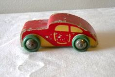 Vintage BRIO Wood Toy Car Wooden Wheels Red Green Paint