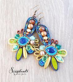 Colorful soutache earrings. Soutache jewelry. by Sengabeads