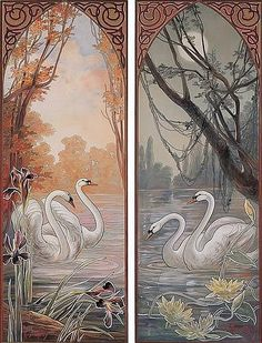 Buy online, view images and see past prices for Swans: Two Decorative Panels. Invaluable is the world's largest marketplace for art, antiques, and collectibles. Stella Gibbons, Art Nouveau Mucha, Art Nouveau Illustration, Country Walk, Pet Monkey, Decorative Panels, Source Of Inspiration, Decoration, Arts And Crafts