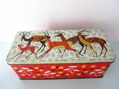 Vintage tin retro tin storage tin Christmas tin Vintage Vintage Tins, Vintage Metal, Cream Crackers, Vintage Christmas, Tin Boxes, Uk Shop, I Am Happy, Reindeer, Retro Fashion