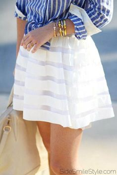 white chiffon skirt and blue striped button down, already wishing for warmer weather!