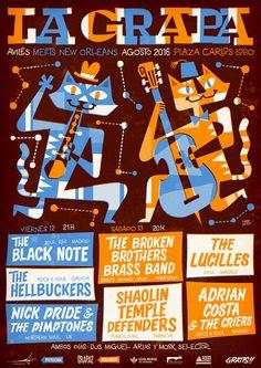 Cartel para la segunda edición del festival internacional de música negra de Avilés La Grapa, Diseño: Pablo Lacruz