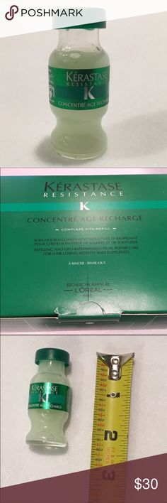 Kerastase Concentre Age Recharge Hair Treatment Kerastase Concentre single use vial. Deep conditioning hair treatment. Only available in salons. One bottle only. Picture of box is for informational purposes only & is not included. L'Oreal Kerastase Concentre Age Recharge intensive hair treatment - new / sealed vial. Use with an attachable sprayer (not included) or by massaging into wet hair. Leave in hair 5 minutes, the rinse out. Increases hair vitality & suppleness. L'Oreal Makeup