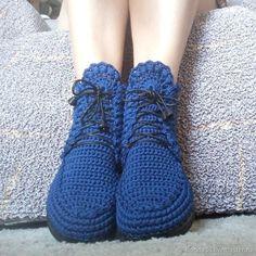 Ботинки вязаные со шнуровкой, синий,хлопок – купить в интернет-магазине на Ярмарке Мастеров с доставкой