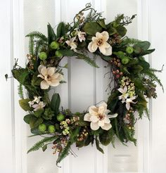 Southern Hospitality Berry And Magnolia Wreath Silk Flower Wreath farmhouse décor, simply beautiful, fixer upper style Wreaths For Front Door, Door Wreaths, Grapevine Wreath, Front Porch, Cream Flowers, Silk Flowers, Silk Flower Wreaths, Fabric Wreath, Floral Wreaths