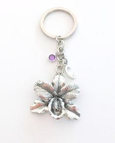 Orchid Key Chain, Large Flower Keychain, Gift for Gardener, Society Member Keyring, Best Friend Floral theme Birthday Present Nature her him by aJoyfulSurprise on Etsy Floral Theme, Birthstone Charms, Organza Gift Bags, Initial Charm, Large Flowers, Key Chains, Birthday Presents, Key Rings, Antique Silver