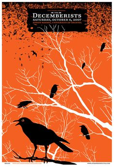 The Decemberists screen printed poster. Hand silkscreen printed poster for The Decemberists's show on Saturday, October 2007 at The Anson Rooms, University of Bristol, Bristol, UK. Screen Print Poster, Poster Prints, Art Prints, Gig Poster, Band Posters, Cool Posters, Music Posters, The Decemberists, Graffiti