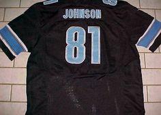Calvin Johnson 81 Detroit Lions NFL NFC Nike On Field Black Blue Jersey 56 #Nike #DetroitLions