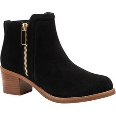 Ted Baker Jyion Side Zip Ankle Boots , Black Leather ($230) ❤ liked on Polyvore featuring shoes, boots, ankle booties, black leather, short leather boots, leather ankle boots, black leather bootie, black bootie and black flat booties
