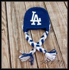 e15605c5eda Items similar to Crochet Blue Hat   Helmet Inspired by LA Dodgers on Etsy