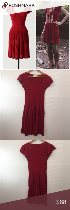 "Anthropologie Amarena Dress Sparrow softens richly hued sweaterknit with a mix of stitches and a flattering silhouette. Pullover styling  Cotton, nylon, wool, angora  Dry clean  36.5""L  Imported  Style No. 933167 Anthropologie Dresses"