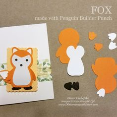 Animal Punch Art Fox using Penguin Builder Punch card from Dawn Olchefske #dostamping #HowdSheDOthat #stampinup #punchart p Wood Patterns, Punch Art, Paper Pumpkin, Coordinating Colors, Fall Harvest, Red Apple, Card Templates, Note Cards, Penguins