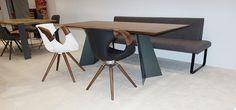 """Esstisch """"KT9"""", Nussbaum mit Bank """"For Us"""" von TONON und Sessel Up Chair, Hohenems, Vorarlberg, Wien. www.massivholz-design.at Metal Furniture, Furniture Design, Wood And Metal, Solid Wood, Up, Dining Table, Exhibitions, Christian, Studio"""